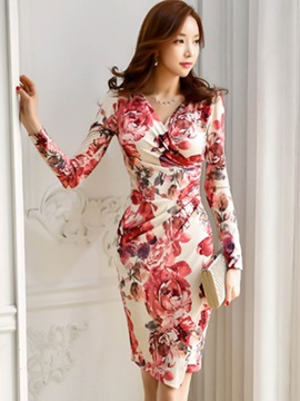 Long Sleeve Floral Imprint Womens Bodycon Dress