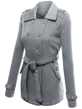 Lapel Slim Belt Womens Coat