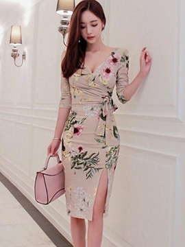 Chic Floral Imprint Long Sleeve Slim Bodycon Dress
