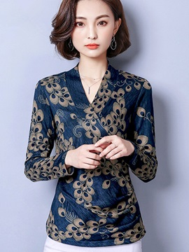 Long Sleeve Standard V Neck Blouse