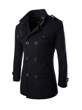 Stand Collar Solid Color Double Breasted Mid Length Mens Woolen Coat