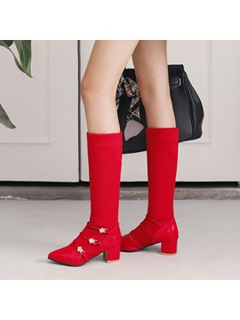 Faux Suede Pointed Toe Buckle Rhinestone Womens Boots