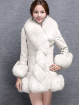 Faux Fur Lapel With Tight Waist Slim Womens Overcoat