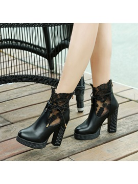 Pu Back Zip Lace Chunky Heel Womens Boots