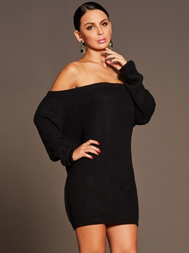 Chic Boat Neck Long Sleeve Womens Sweater Dress