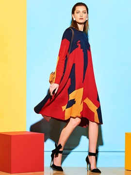Color Block Long Sleeve Womens Casual Dress