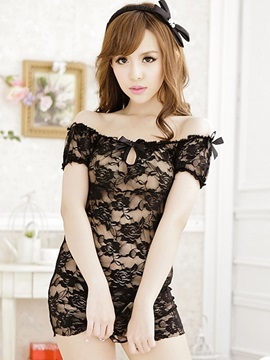 Mesh Slash Collar Hollow Babydoll