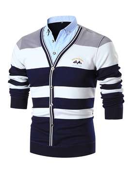 V Neck Stripe Color Block Slim Mens Cardigan Sweater