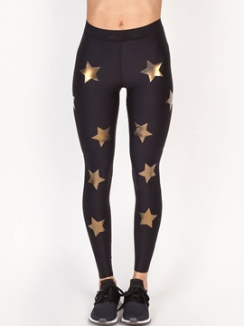 Mid Waist Star Print Slim Womens Leggings
