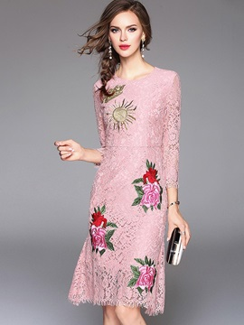 Pink Embroidery Long Sleeve Womens Lace Dress