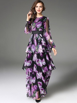 Floral Imprint Long Sleeve Womens Layered Maxi Dress