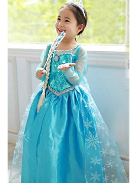 Frozen Alsa Princess Cosplay Party Dress Girls Costume