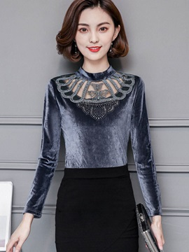 Long Sleeve Patchwork Slim T Shirt