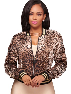 Leopard Long Sleeve Round Neck Womens Jacket