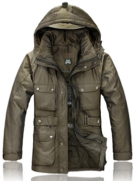 Stand Collar Pockets Mens Winter Coat