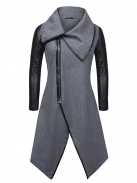 Asymmetric Big Lapel Womens Coat