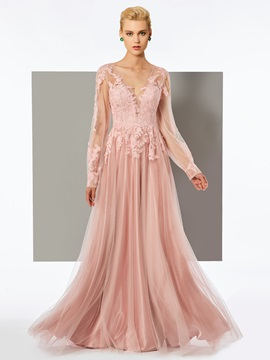 Charming A Line Long Sleeves Appliques V Neck Floor Length Evening Dress