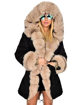 Hooded Winter Fur Patchwork Womens Overcoat
