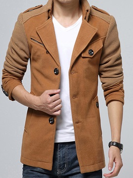 Stand Collar Patchwork Slim Long Sleeve Mens Coat