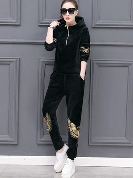 Pleuche Wing Hooded Hoodie And Casual Pants Womens 2 Piece Set