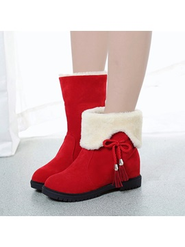 Faux Suede Slip On Fringe Lace Up Womens Snow Boots