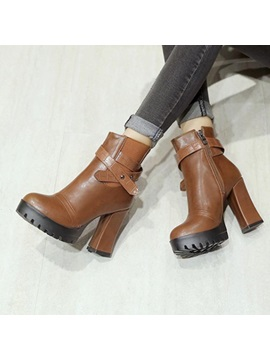 Pu Chunky Heel Side Womens Ankle Boots