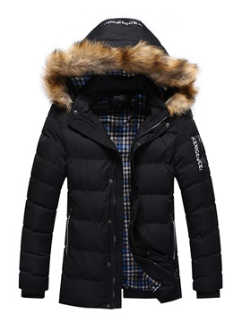 Hooded Thicken Warm Mid Length Zipper Mens Winter Coat