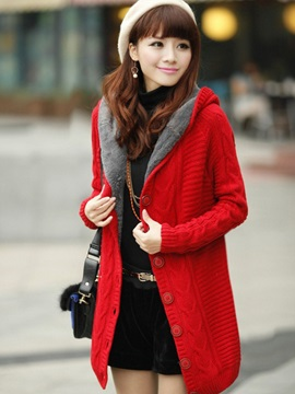 Flocking Single Breasted Thick Womens Cardigan