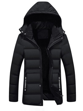 Hooded Solid Color Thicken Warm Mens Winter Coat