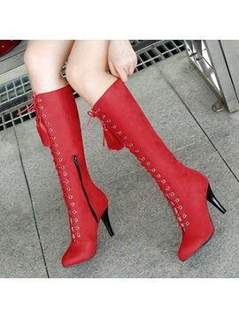 Pu Pointed Toe Cross Strap Fringe Womens Boots