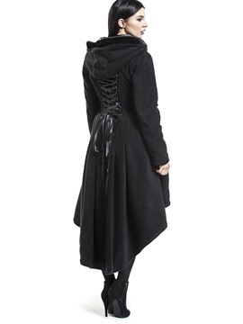 Asymmetric Single Breasted Hooded Womens Overcoat