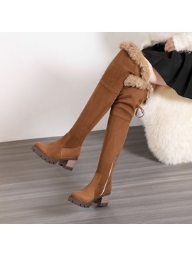 Faux Suede Purfle Side Zipper Womens Boots