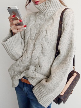 Turtleneck Coarse Wool Mid Length Knitwear