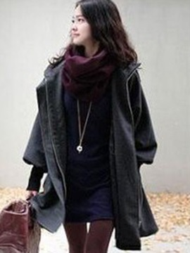 Big Hooded Mid Length Womens Overcoat