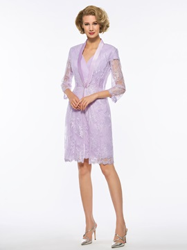 Modern V Neck Cap Sleeves Lace Mother Of The Bride Dress With Jacket