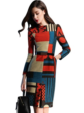 Vogue Color Block Long Sleeve Womens Bodycon Dress
