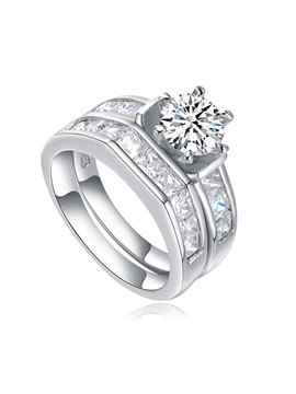 Zircon 925 Silver Wedding Couple Rings