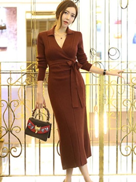 Chic Solid Color Long Sleeve Sweater Dress