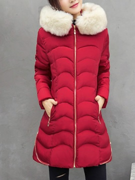Mid Length Hooded Artificial Fur Patchwork Womens Coat