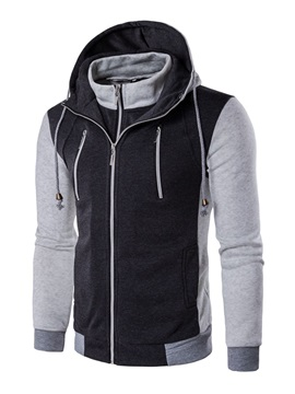 Hooded Zipper Slim Patchwork Color Block Mens Cardigan Hoodie