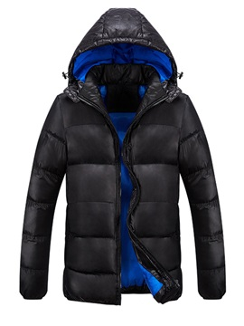 Hooded Solid Color Thicken Zipper Mens Winter Coat