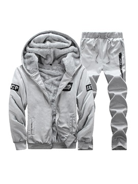 Hooded Warm Solid Color Long Pant Mens Tracksuit Outfit