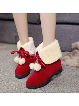 Faux Suede Slip On Lace Up Pompon Womens Boots