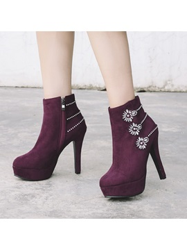 Faux Suede Side Zipper Rhinestone Chic Ankle Boots