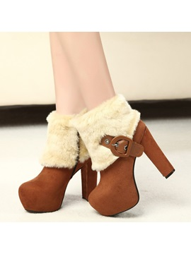 Faux Suede Patchwork Buckle Side Zipper Womens Boots