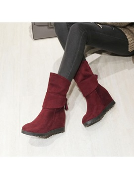 Faux Suede Lace Up Back Hidden Heel Wedge Boots