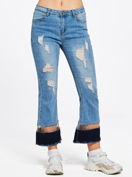 Loose Hollow Tassel Patchwork Hole Ankle Length Womens Jeans
