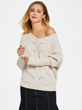 V Neck Batwing Sleeve Jacquard Weave Womens Sweater