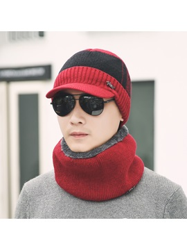 European Winter Woolen Yarn Knitted Mens Loop Cap Hats