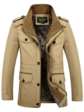 Stand Collar Pocket Solid Color Mens Trench Coat